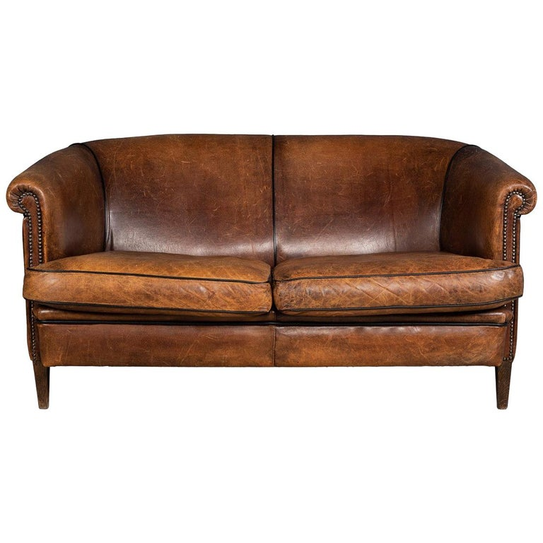 20th Century Dutch Two-Seat Sheepskin Leather Sofa, circa 1970 For Sale