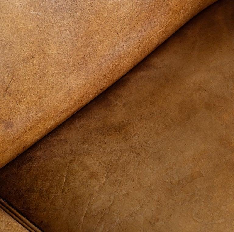 20th Century Dutch Two-Seat Tan Leather Sofa, circa 1980 For Sale 8