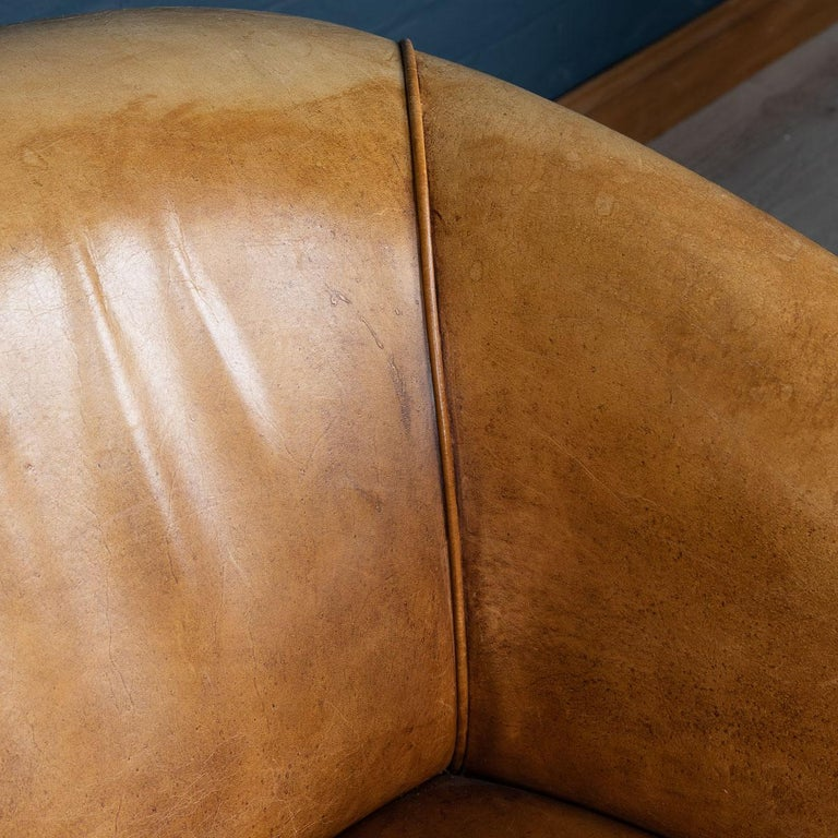 20th Century Dutch Two-Seat Tan Leather Sofa, circa 1980 For Sale 9