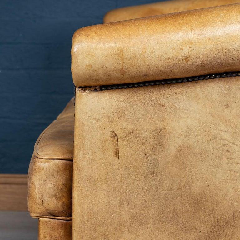 20th Century Dutch Two-Seat Tan Leather Sofa, circa 1980 For Sale 10