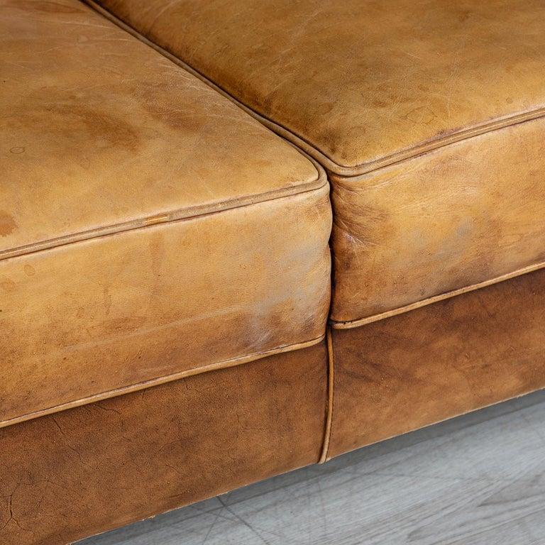 20th Century Dutch Two-Seat Tan Leather Sofa, circa 1980 For Sale 11