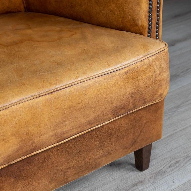 20th Century Dutch Two-Seat Tan Leather Sofa, circa 1980 For Sale 12
