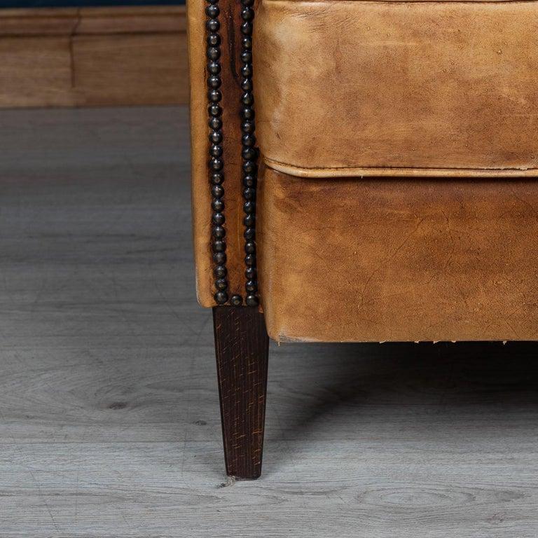 20th Century Dutch Two-Seat Tan Leather Sofa, circa 1980 For Sale 13