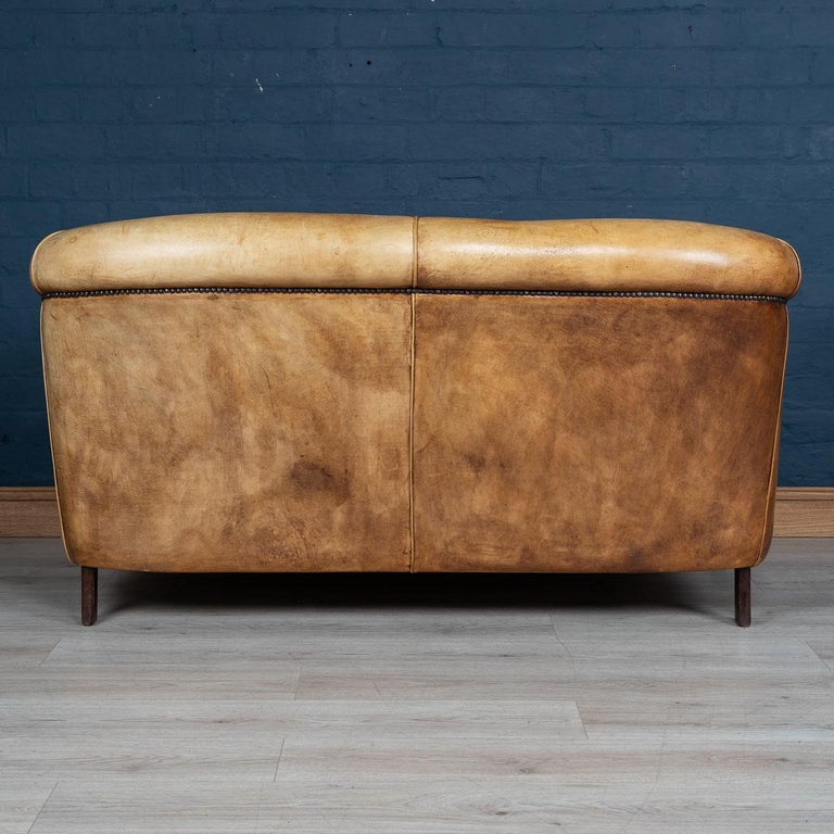 20th Century Dutch Two-Seat Tan Leather Sofa, circa 1980 In Good Condition For Sale In London, London