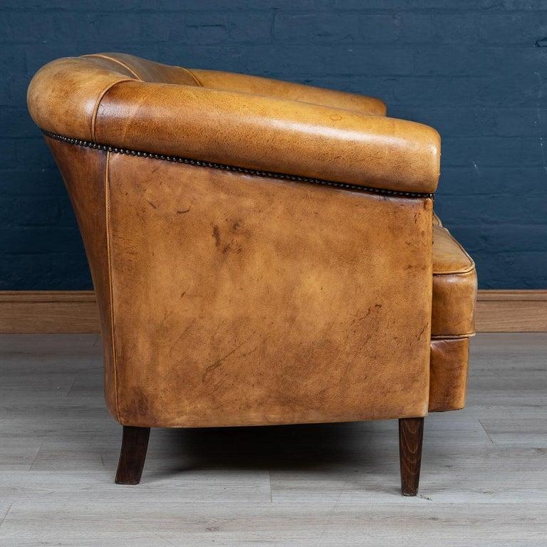 20th Century Dutch Two-Seat Tan Leather Sofa, circa 1980 For Sale 1