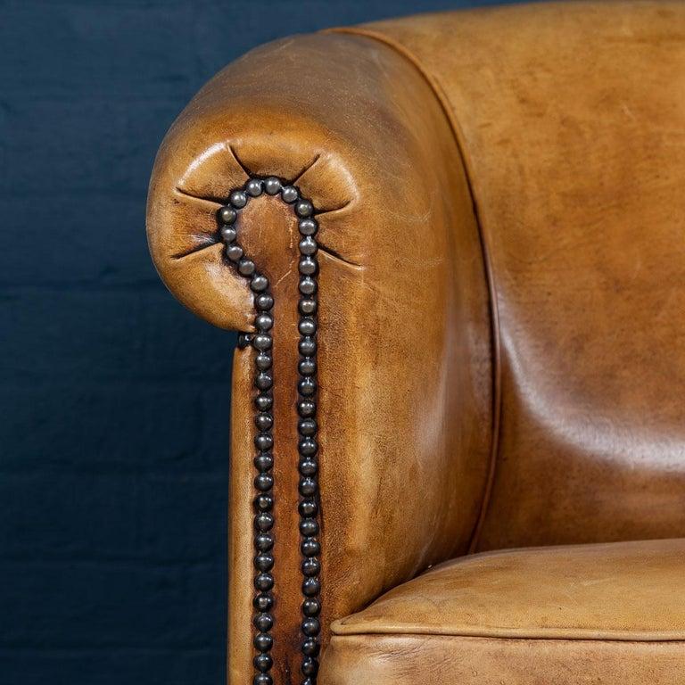 20th Century Dutch Two-Seat Tan Leather Sofa, circa 1980 For Sale 2