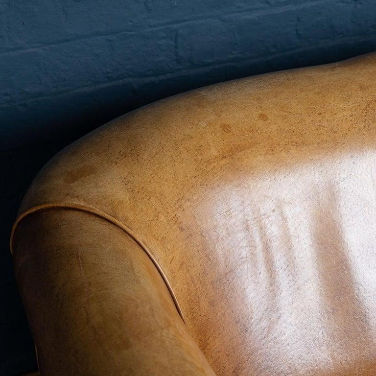 20th Century Dutch Two-Seat Tan Leather Sofa, circa 1980 For Sale 3