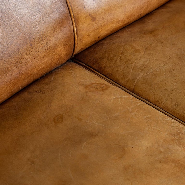20th Century Dutch Two-Seat Tan Leather Sofa, circa 1980 For Sale 4