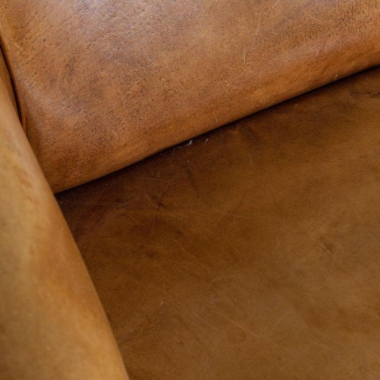 20th Century Dutch Two-Seat Tan Leather Sofa, circa 1980 For Sale 5