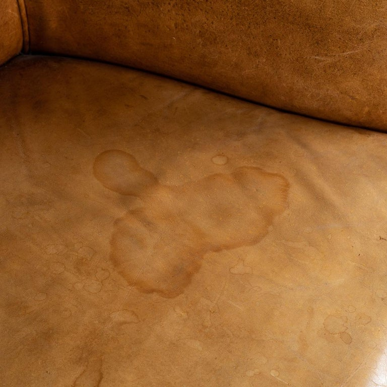 20th Century Dutch Two-Seat Tan Leather Sofa, circa 1980 For Sale 6