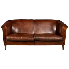 20th Century Dutch Two/Three-Seat Leather Sofa