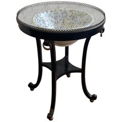 20th Century Ebonized Table with Porcelain Bowl from Mario Buatta Estate