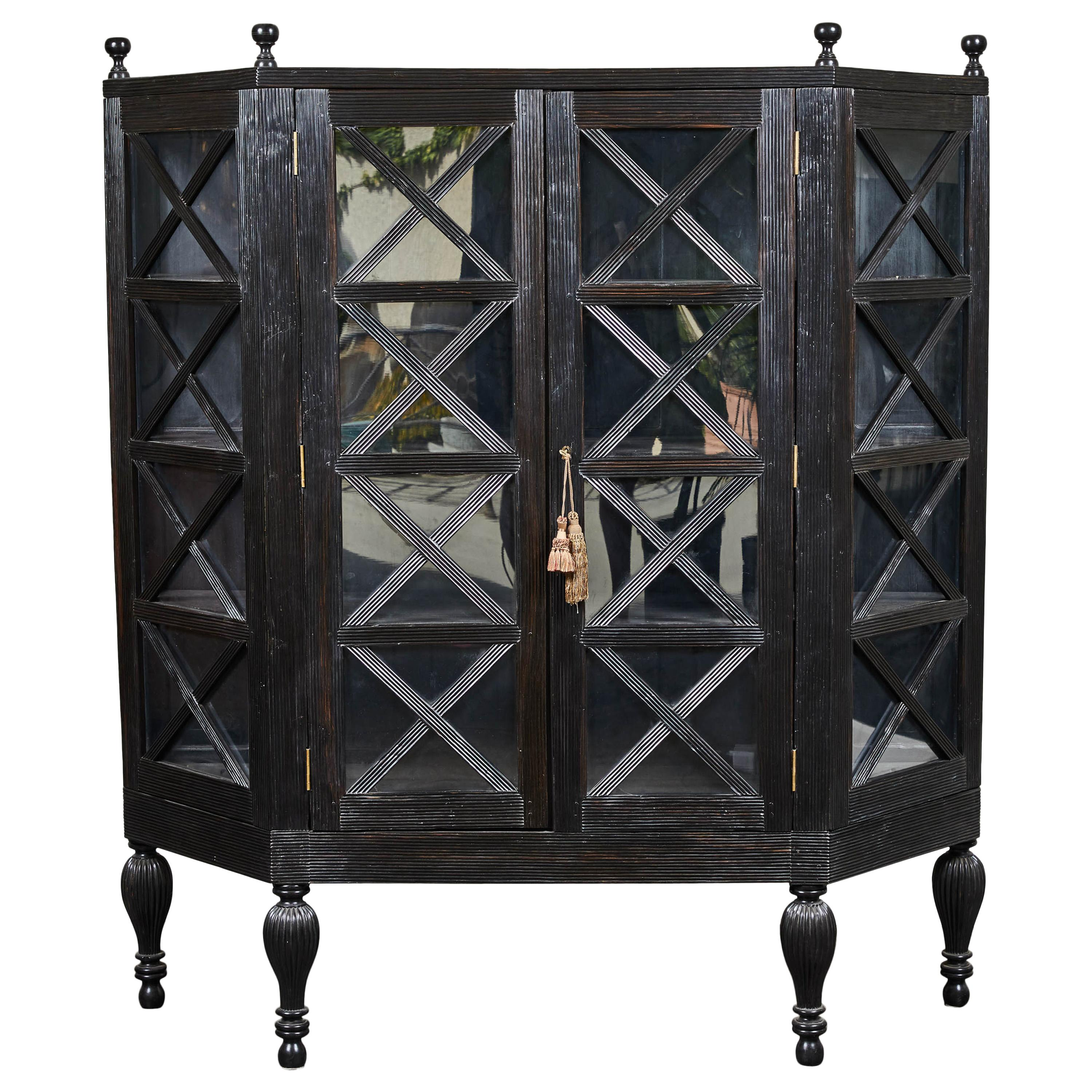 20th Century Ebony British Colonial Two-Door Display Cabinet