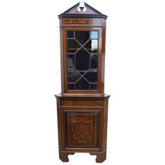 20th Century Edwardian Inlaid Corner Cabinet