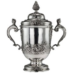 20th Century Edwardian Monumental Silver Cup and Cover, Hancock & Co.