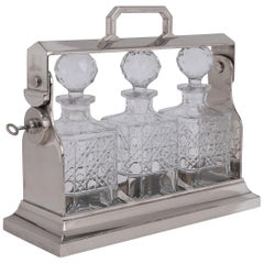 20th Century Edwardian Silver Plated and Cut Glass Tantalus, circa 1900