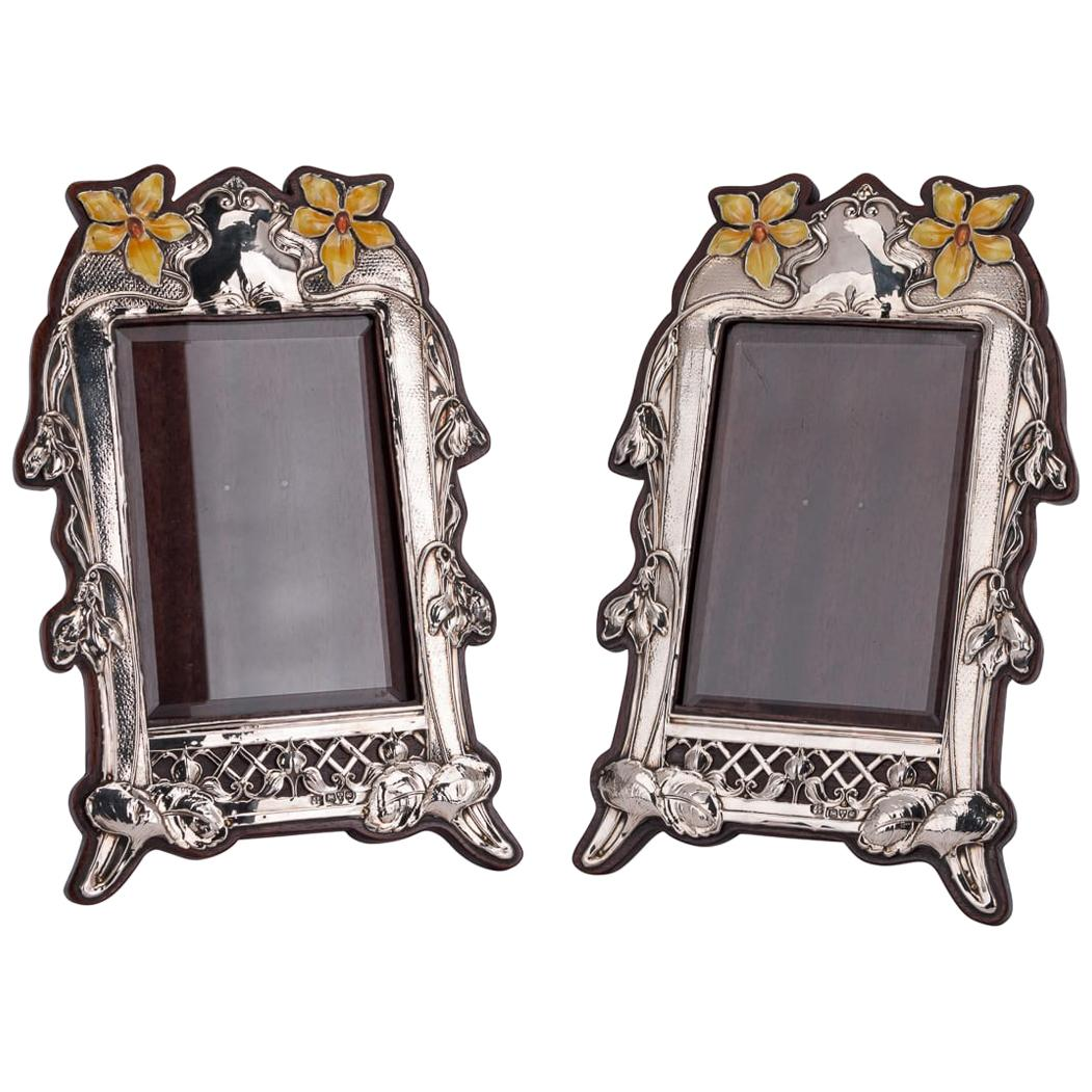 20th Century Edwardian Solid Silver and Enamel Photo Frames, Chester, circa 1905