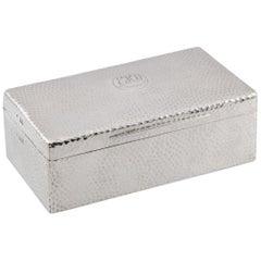20th Century Edwardian Solid Silver Cigar Box, Birmingham, circa 1906