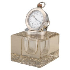20th Century Edwardian Solid Silver & Glass Inkwell with Clock, London, c.1909