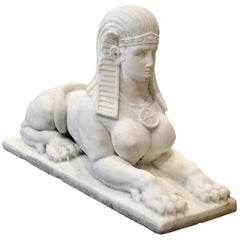 20th Century Egyptian Revival Marble Sphinx