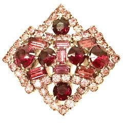 20th Century Eisenberg Style Sliver & Swarovski Crystal Brooch