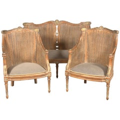 20th Century Elegant Set in English Style, Carved and Colored Beechwood