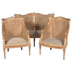 20th Century Elegant Chair Set in English Style, Carved and Colored Beechwood