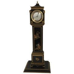 20th Century Elliott of London Black Chinoiserie Miniature Longcase Clock