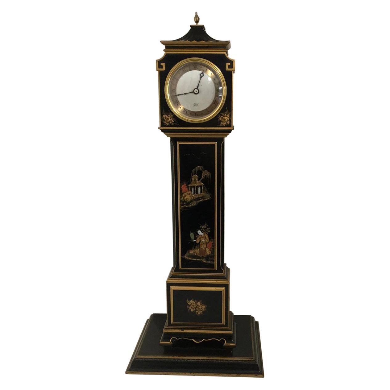 20th Century Elliott of London Black Chinoiserie Miniature Longcase Clock