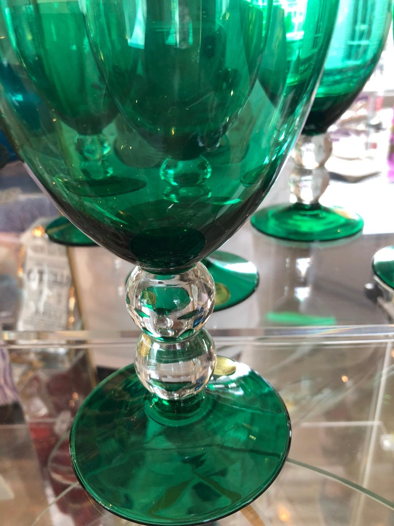 Emerald Green Set of 4 Handcut / Mouth Blown Goblets by