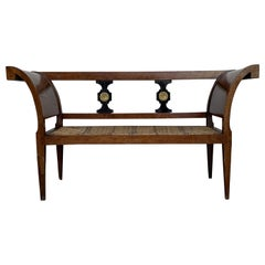 20th Century Empire Bench in Walnut with Ebonized Details and Caned Seat
