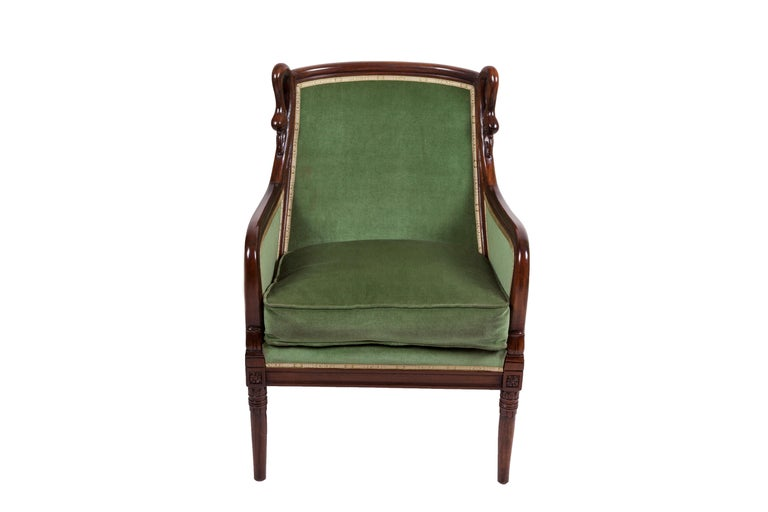 20th Century Empire Mahogany Pair of French Armchairs In Good Condition For Sale In Tricase, Italia