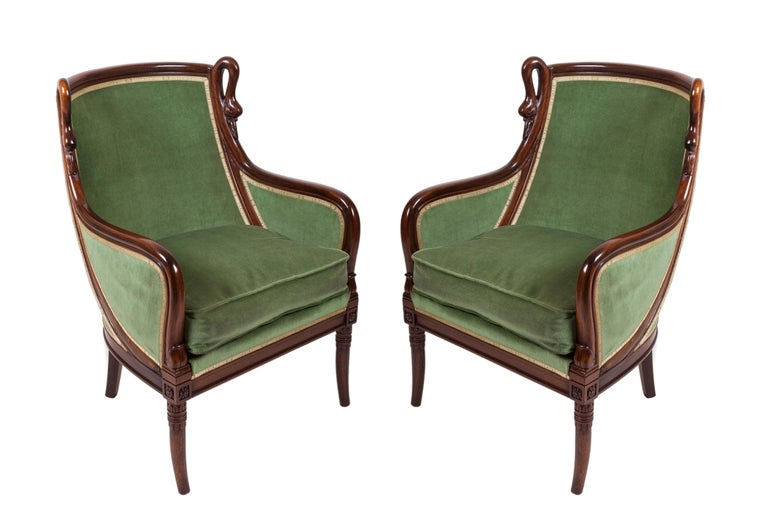 20th Century Empire Mahogany Pair of French Armchairs For Sale 4
