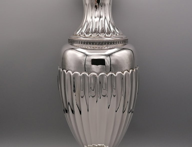 Hand-Crafted 20th Century Empire Revival Italian Silver Vase For Sale