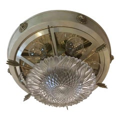 20th Century Empire Style Ceiling Light Italian Banci Firenze White Flush Mount
