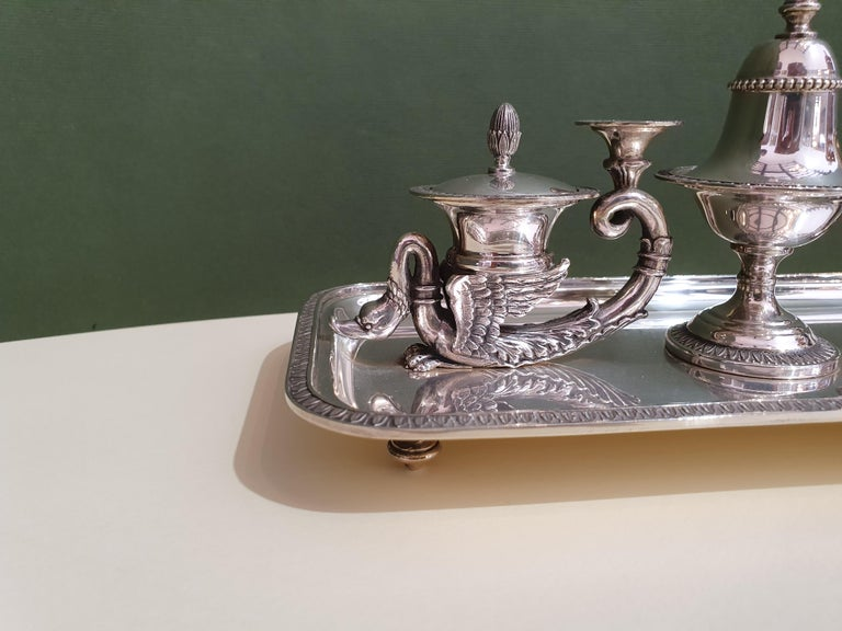 Wonderful handcrafted sterling silver inkwell. A refined piece of Empire style silverware perfect for an extremely elegant home or office. Made for us by Argenteria Auge, one of the most skilled Milanese silversmiths of the 20th century, now no