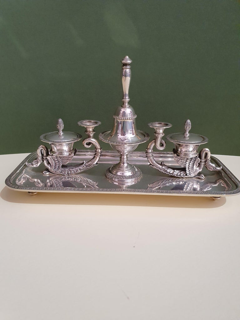 Hand-Crafted 20th Century Empire Style Handmade Sterling Silver Inkwell, Italy, 1991 For Sale