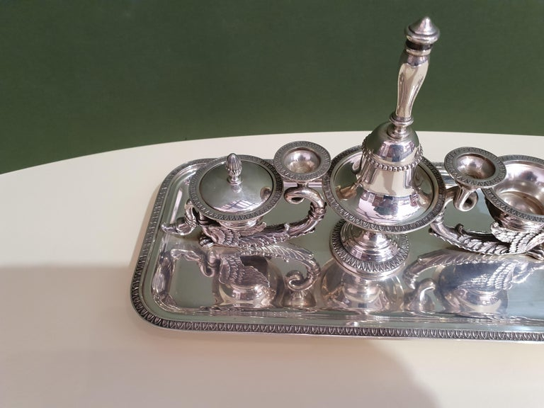 20th Century Empire Style Handmade Sterling Silver Inkwell, Italy, 1991 In Excellent Condition For Sale In Cagliari, IT