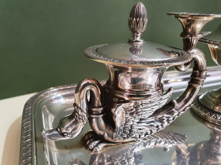 Late 20th Century 20th Century Empire Style Handmade Sterling Silver Inkwell, Italy, 1991 For Sale