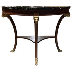20th Century Empire Style Marble-Top Demilune Console with Lion Heads, Paw Feet