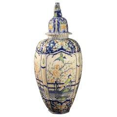 20th Century Enameled and Hand Painted Ceramic Italian Vase, 1950