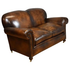20th Century English Antique Hand Dyed Brown Leather Sofa