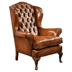 20th Century English Antique Hand Dyed Leather Wing Back Armchair