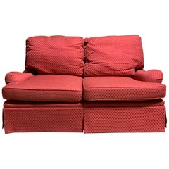20th Century English Arm Sofa with Red Upholstery