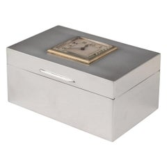 20th Century English Art Deco Solid Silver Cigarette Box & Clock, London, c.1928