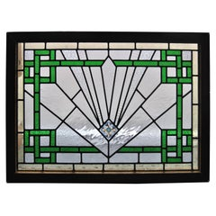 20th Century English Art Deco Style Stained Glass Window