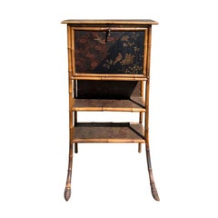 20th Century English Bamboo and Chinoiserie Secretary
