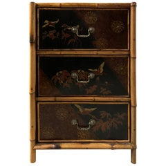20th Century English Bamboo and Chinoiserie Lacquered Three-Drawer Bedside Chest