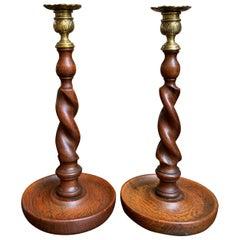 20th Century English Barley Twist Oak Candlestick Pair Set of 2 with Brass