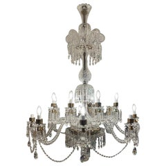 20th Century English Bronze and Hand-Cut Crystal 16-Light Chandelier